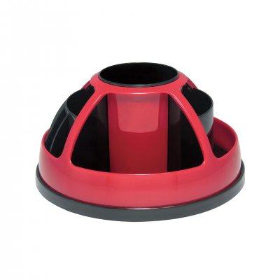 O-Life Органайзер за бюро S-899, въртящ се, празен, черно-червен