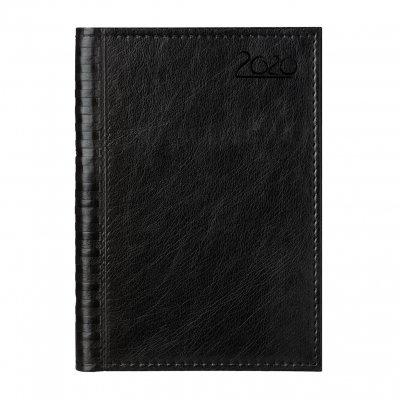 Календар-бележник Мадера, с дати, A5, кожена подвързия, цвят черен