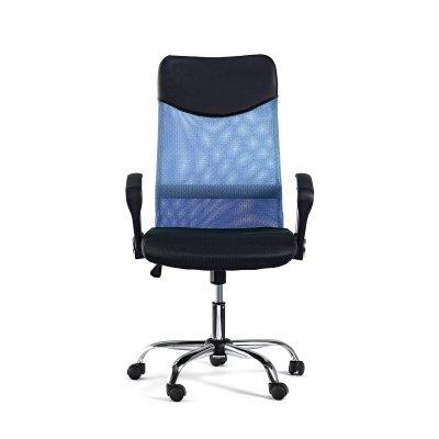 Директорски стол Monti HB, дамаска, екокожа и меш, черна седалка, светлосиня облегалка