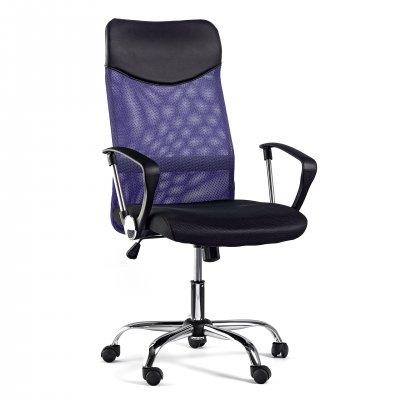 Директорски стол Monti HB, дамаска, екокожа и меш, черна седалка, лилава облегалка