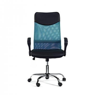 Директорски стол Monti HB, дамаска, екокожа и меш, черна седалка, тюркоазена облегалка