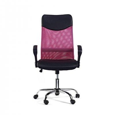 Директорски стол Monti HB, дамаска, екокожа и меш, черна седалка, цикламена облегалка