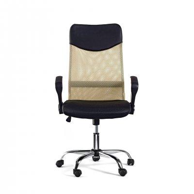Директорски стол Monti HB, дамаска, екокожа и меш, черна седалка, бежова облегалка