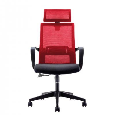 RFG Директорски стол Smart HB, дамаска и меш, черна седалка, червена облегалка