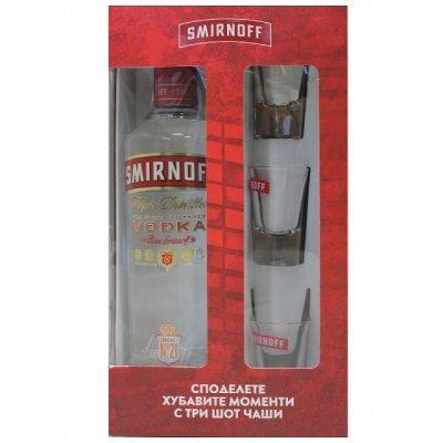 Водка Smirnoff с 3 шот чаши 700 ml