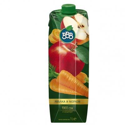 Сок ВВВ ябълка и морков 100% 1l