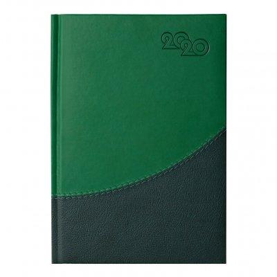 Календар-бележник Престиж, с дати, А5, зелен/тъмнозелен