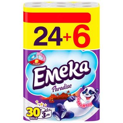 Тоалетна хартия Emeka трипластова 24+6 бр. Бял