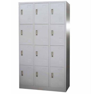 Метален гардероб Locker 3 колони 12 отделения Сив