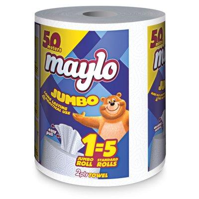 Кухненска ролка Maylo двупластова 430 g, 1 бр. х 200 къса, Бял