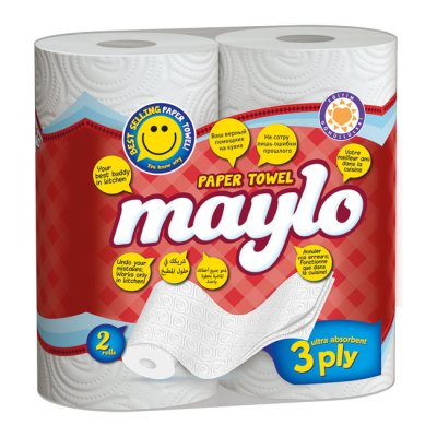 Кухненски ролки Maylo двупластови 240 g, 2 бр. х 85 къса, Бял