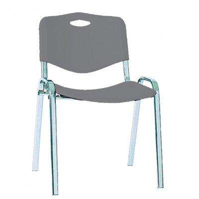 Посетителски стол SO Plastik Chrome Сив