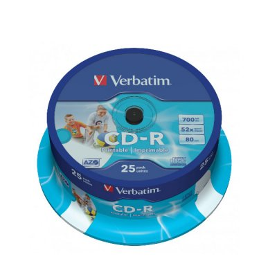 CD-R Verbatim Printable 52 x700 MB шпиндел 25 бр