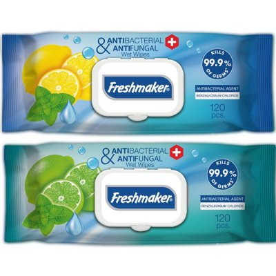 Мокри кърпи Freshmaker антибактериални, с капак, 120 бр.