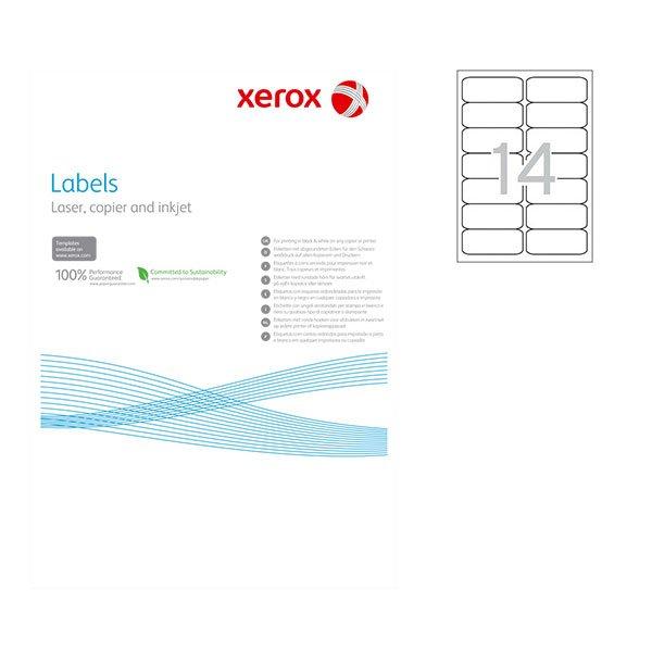 Етикети Xerox 99.1x38.1 mm А4 100 л. 14 етик. заоблени