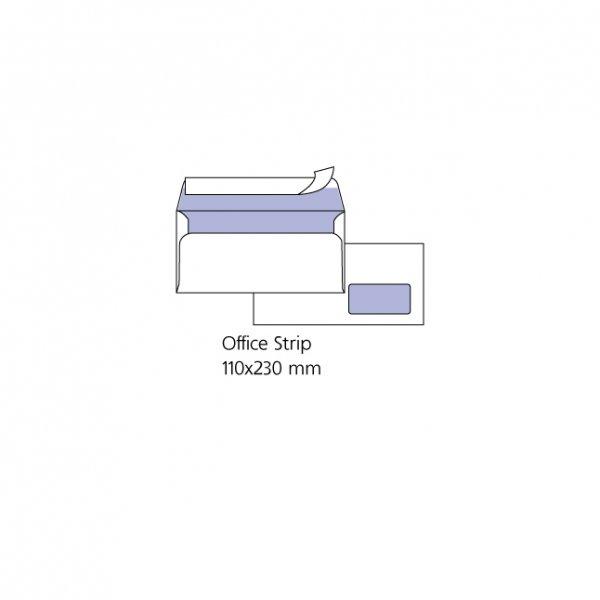 Плик бял Десен прозорец DL 110x220 mm Стикер1000