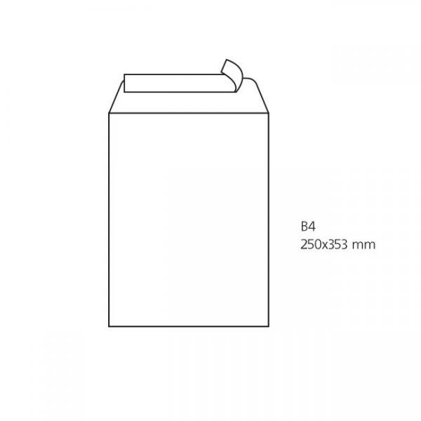 Плик бял B4 250х353 mm Стикер 250 бр.