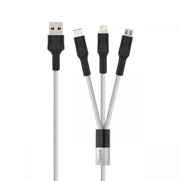 Кабел за зареждане Yookie CB13, 3 в 1, Micro USB