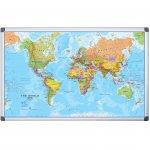 Bi-Office Бяла дъска, с карта на Света, магнитна, 90 x 120 cm