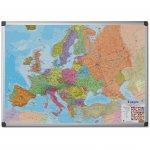 Bi-Office Бяла дъска, с карта на Европа, магнитна, 90 x 120 cm