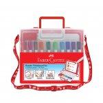 Faber-Castell Бяла дъска, детска, в комплект с 10 цвята маркери и гъба, в куфарче