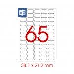 Tanex Самозалепващи етикети, A4, 38.1 x 21.2 mm, прозрачни, 25 листа