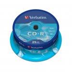 Verbatim CD-R, 700 MB, 52x, със защитно покритие, 25 броя в шпиндел