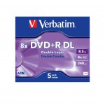 Verbatim DVD+R Dual Layer, двуслоен, 8.5 GB, 8x, AZO покритие