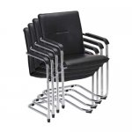 Nowy Styl Посетителски стол Rumba S Chrome, екокожа, черен