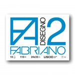 Fabriano Скицник за рисуване Disegno 2, 24 x 33 cm, 110 g/m2, гладък, подлепен, мека корица, 10 листа