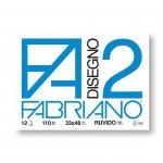 Fabriano Блок за рисуване Disegno 2, 33 x 48 cm, 110 g/m2, грапав, подлепен, 12 листа