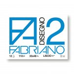 Fabriano Блок за рисуване Disegno 2, 33 x 48 cm, 110 g/m2, гладък, подлепен, 12 листа