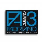 Fabriano Блок за рисуване Disegno 3, 24 x 33 cm, 125 g/m2, черна хартия, грапав, шит с телчета, 10 листа