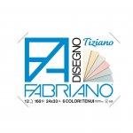 Fabriano Блок за рисуване Tiziano, 24 x 33 cm, 160 g/m2, пастелни цветове, грапав, с ъгли, 6 цвята, 12 листа
