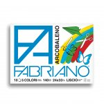 Fabriano Скицник за рисуване Arcobaleno, 24 x 33 cm, 140 g/m2, цветни листове, грапав, 5 цвята, 10 листа