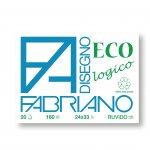 Fabriano Блок за рисуване Disegno Eco, 24 x 33 cm, 160 g/m2, грапав, с ъгли, 20 листа