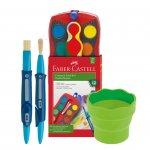 Faber-Castell комплект – акварелни бои Connector, сгъваема чаша за рисуване и 2 броя сгъваеми четки