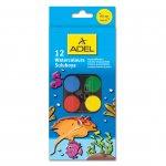 Adel Акварелни бои, 24 mm, 12 цвята, в малка кутия