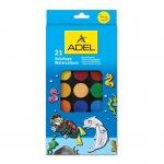 Adel Акварелни бои, 30 mm, 21 цвята, в голяма кутия