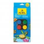 Adel Акварелни бои, 30 mm, 12 цвята, в голяма кутия