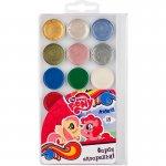 Водни бои Kite Little Pony  медени 18 цвята