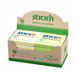 Stick'n Самозалепващи листчета, 76 x 76 mm, рециклирани, пастелни цветове, асорти, 12 броя