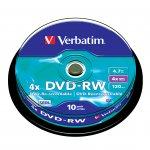 Verbatim DVD-RW, презаписваем, 4.7 GB, 4x, 10 броя в шпиндел
