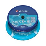 Verbatim CD-R, 700 MB, 52x, AZO покритие, 25 броя в шпиндел